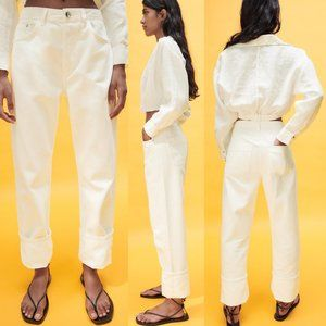NEW Zara Z1975 High Rise Relaxed Cuff Jeans White